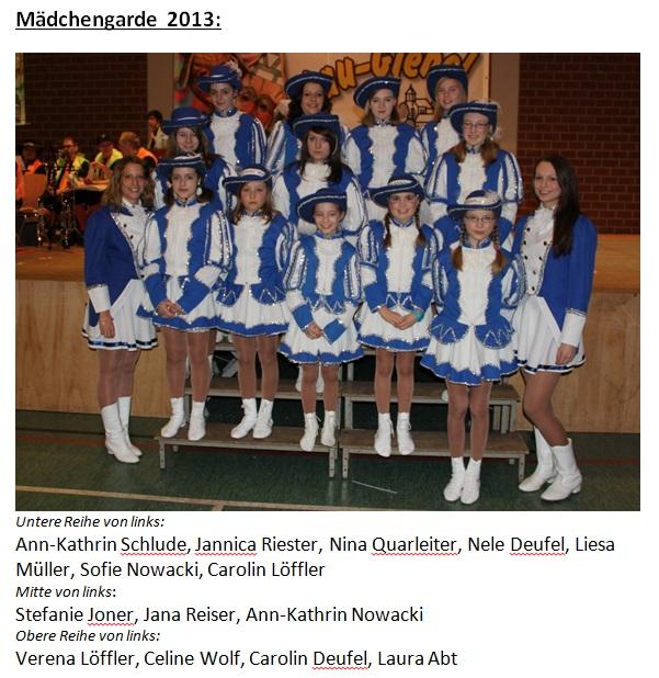 Mädchengarde 2013